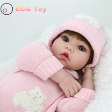 22 inch silicone baby dolls for sale 55cm Silicone Reborn Dolls Lifelike Baby Doll Play House Toy Girl Pink Princess Doll Reborn(China)