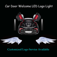 2x 3D Angel Wings Logo Car Door Motorcycle Scooter Welcome Courtesy Ghost Shadow Puddle Spotlight Laser Projector LED Light