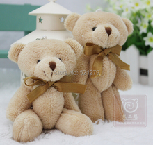 T108Free shipping 60pcs/lot Adorable Cubs mini Plush joint teddy bears Toys Holiday Gift Cubs High 12cm/light brown color