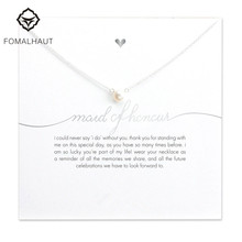 Bridesmaid mail of honor imitation pearl plated silver Pendant Necklaces white card necklace Fashion Women FOMALHAUT Jewelry(China)
