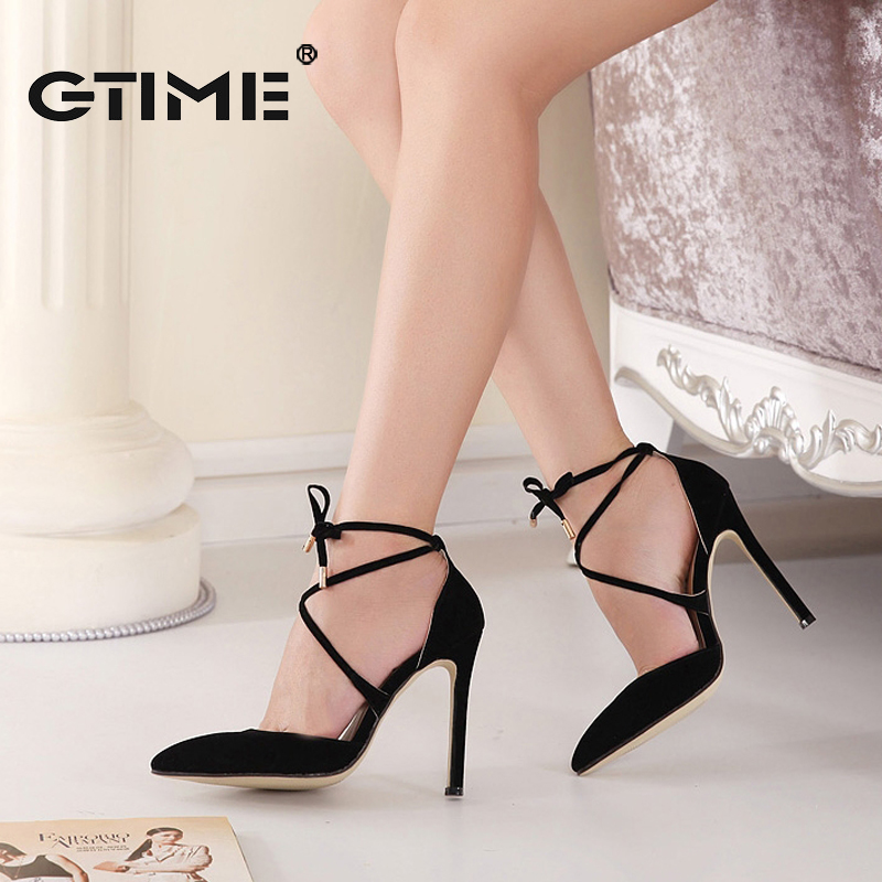 GTIME 2017 New Summer Style womens Lace Up high heels  Pointed Toe Bandage Stiletto Sandals Celebrity Ladies Shoes Pumps #ZWS90<br><br>Aliexpress
