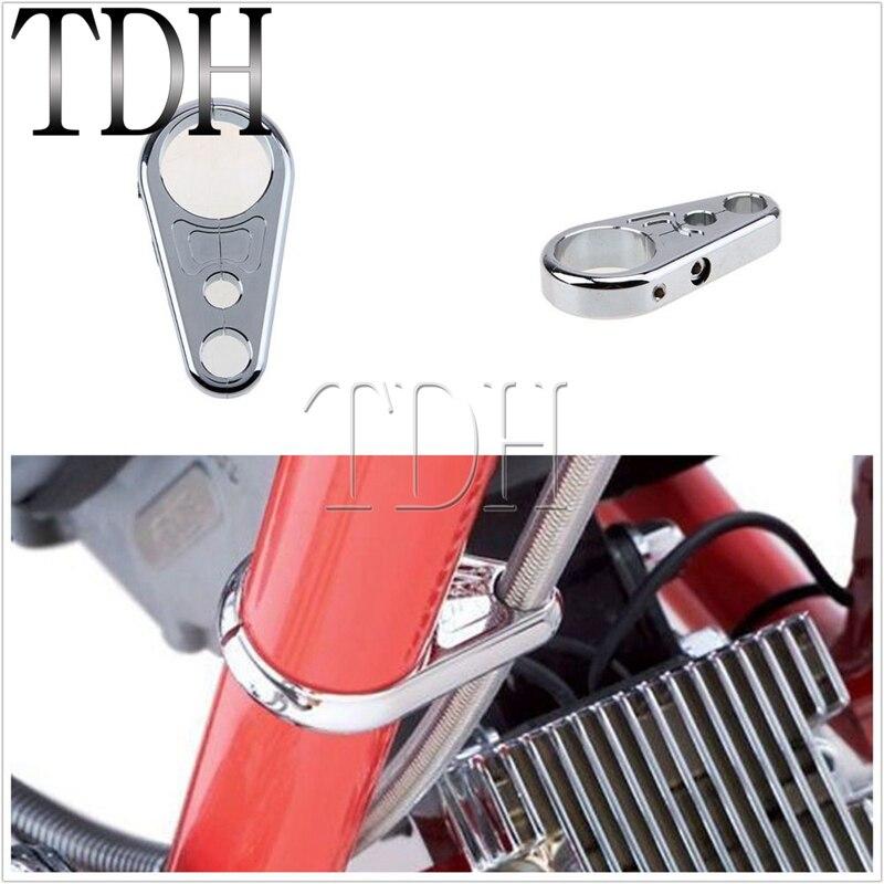 "1-1//4/"" Chrome Clutch Cable Brake Line Clamp for Harley-Davidson Frame Handlebar"