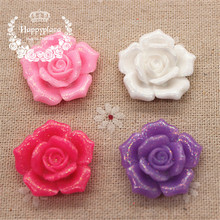 10pcs 26mm Cute Glitter Resin Flower Rose Shape FlatBack Cabochon DIY Scrapbooking Craft/Wedding Decoration(China)