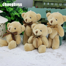 4.7''/12cm Mini Joint Plush Bears Toys 12pcs/lot kawaii Bear Toys for Wedding Banquet Decor Stuffed Toy Pendant Gifts brinquedos