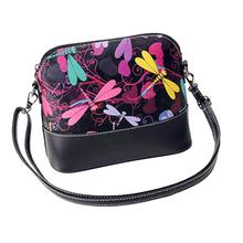Women Shell Handbag Dragonfly Printing High Quality Leather Shoulder Bag Purse Satchel Zipper Messenger Bag Sac Homme #7012