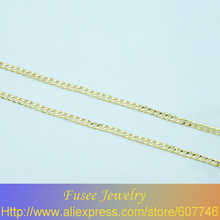 HIB04202548 Copper 18K gold plated chain necklace 2pcs/lot(China)