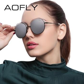 Aofly new revo lens óculos de sol óculos de moda óculos de sol das mulheres de design da marca estilo verão metade armação de metal do vintage shades uv400 af79142