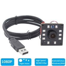 1080P CMOS OV2710 30/60/120fps Wide Angle Night Vision IR CUT Infrared Board USB Webcam Camera Module for Android Linux Windows