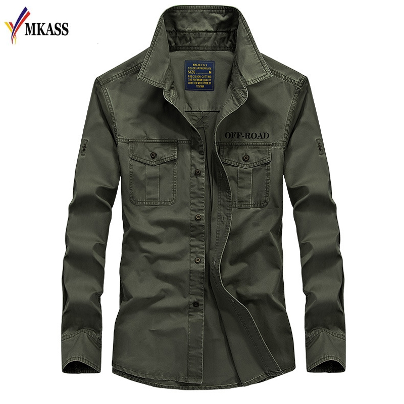 Hot Sale 2019 New 100% Cotton Military Shirt Men Long Sleeve Breathable Casual Shirt Man Solid Shirt With Embroidery 5XL