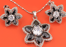 Distinctive Hot Sell ! Flower Black Onyx Silver Jewelry Sets Earrings Pendant Ring For Women S8089