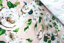 150X100cm camellia flowers beige cotton fabric printed satin fabric and garment fabric-AF032