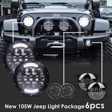 "2xSmoke Lens Front Replacement Turn Signal Light & 2x105W 7""inch LED Headlight Assembly& 2x4""inch Fog Light for JEEP Wrangler(China)"