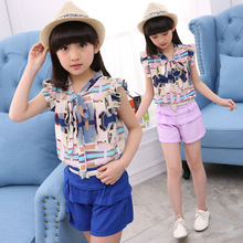 2017 Girls Child Big Bow Tie Short-sleeved Summer Suit Children's Wear New Two-piece  Sports Sets 4-12 Ages Free Shipping