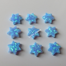 100pcs/lot  OP06 Light Blue 10mm  Synthetic  Drilled blue  David Star Opal  Fire Stone  Price David Star Opal for Necklace