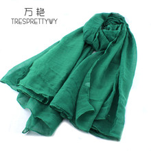 TRESPRETTYWY Luxury Brand Winter Scarf Hot Sale Soft And Delicate Solid Color Wild Silk Shawl Charming Fashion Scarves Clothes(China)