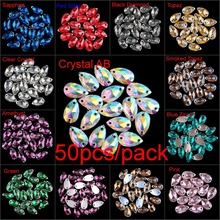 Clear Colored Crystal AB Teardrop Flatback Sew On Resin Rhinestones With Two Holes Sewing On Garment Crystals DIY Sew-on Stones