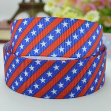"independence day Festival Stars Stripes ribbed bow handmade 22mm print grosgrain ribbon 7/8"" 2015 birthday gift paking(China)"