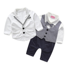 gentleman baby boy clothes white coat+ striped rompers clothing set newborn wedding suit