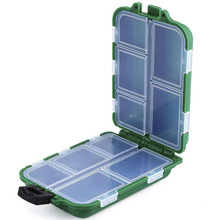 Army Green&Black Plastic Fishing Tackle Boxes Hook Compartments Storage Case Outdoor Fishing Swivels Lure Bait Storing Tool 0002