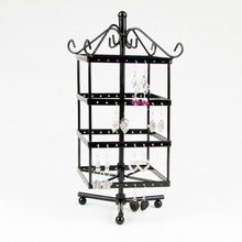 Wholesale High Quality Black Rotating Metal Earring Display Stand Holder Rack For 128 Holes