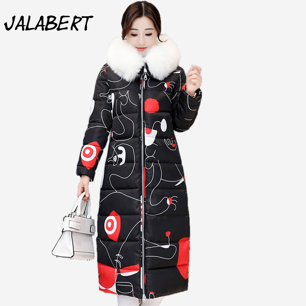 2017 winter new women printing pattern cotton Slim warm coat Female Big fur collar thickened printing hooded parkas jacket Îäåæäà è àêñåññóàðû<br><br>