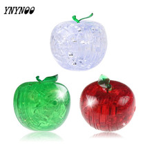 YNYNOO Apple 3D LED Flash Puzzle Colorful Apple Crystal Adult Puzzle Creative Children Puzzle Jigsaw Model Sweet Birthday Gift(China)