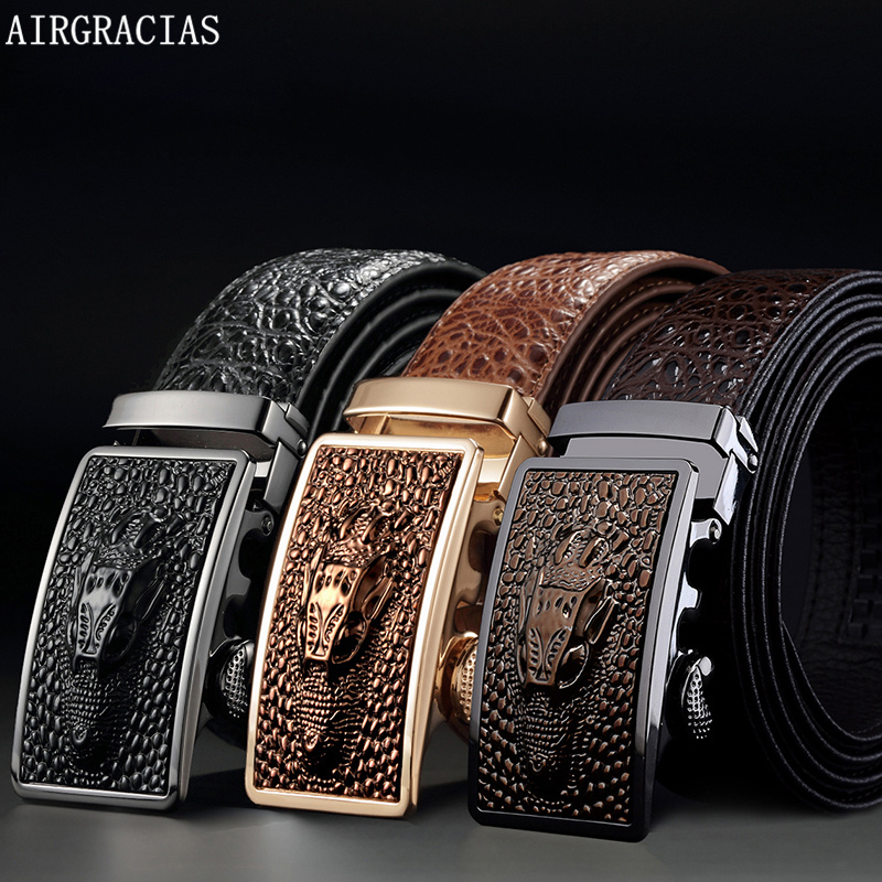 AIRGRACIAS Men Genuine Leather Men Crocodile patte...