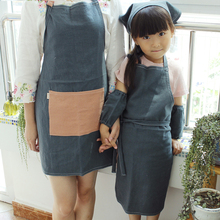 Children 's parent - child aprons Korean fashion kitchen home care kindergarten staff uniforms pure cotton linen
