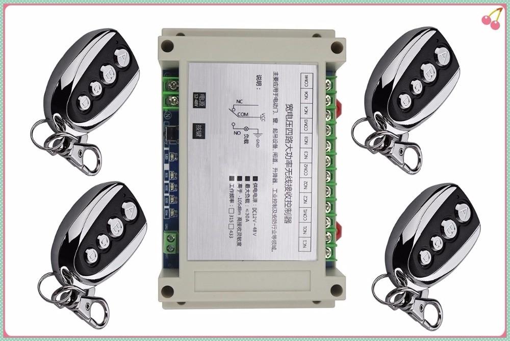 wide voltage DC 12V 24V 36V 48V 4CH RF Wireless Remote Control switch 1 receiver+ 4pcs  transmitter 30A relay <br>