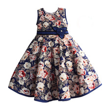6-10 Years Flower Girl Dress Rose Blue Red Mesh Party Wedding Princess Cotton Summer Dresses for Girl Clothes