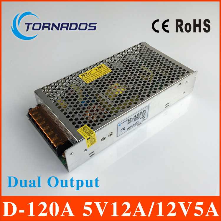 D-120A dual Output Switching power supply 120W 5v12A 12v5A ac to dc power supply ac dc converter 220v 12v 5v transformer<br>