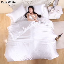 3/4pcs Solid Color Silk Satin Bedding Set Modern Luxury Duvet Cover Set Bedclothes Bed Linen Bed Sheet Pillowcases