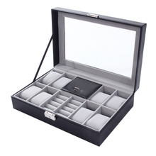 2 In One 8 Grids+3 Mixed Grids Leather Watch Case Storage Organizer Box Luxury Jewelry Ring Display Watch Boxes Black Hot!