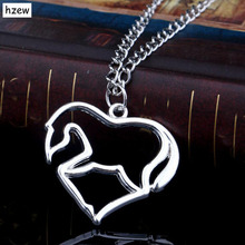 hzew Horse in Heart Necklace Pendant Necklace for women girl mom gifts