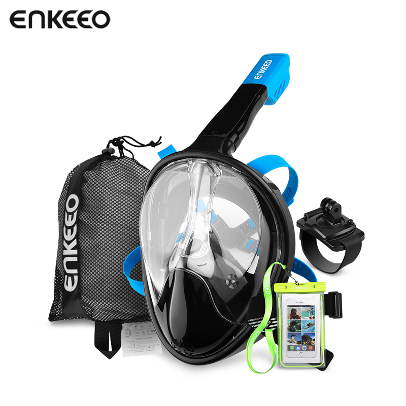 Enkeeo Diving Mask Underwater Scuba Anti Fog Full Face Diving Mask Snorkeling Set with Anti-skid Ring Snorkel 2017 New Arrival<br>