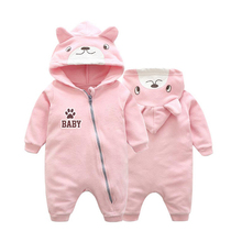 2017 Autumn children's clothing newborn baby fleece long sleeve  clothing baby hooded leisure piece clothing baby rompers L230