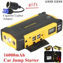 Car Jump Starter 16000mAh 12V Portable Starter Power Bank 600A Car Charger For Car Battery Booster Diesel Petrol Starting Device(China)