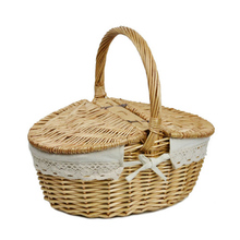 Willow Wicker Basket Camping Picnic Basket Hamper with Lid and Handle Environment Friendly Hand-woven Friut Basket