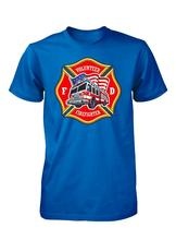 LEQEMAO Hot Sales2017 Popular Volunteer Firefighter Nyfd American Fire Truck 3D Printed Men's 100% Cotton Tee Shirts(China)