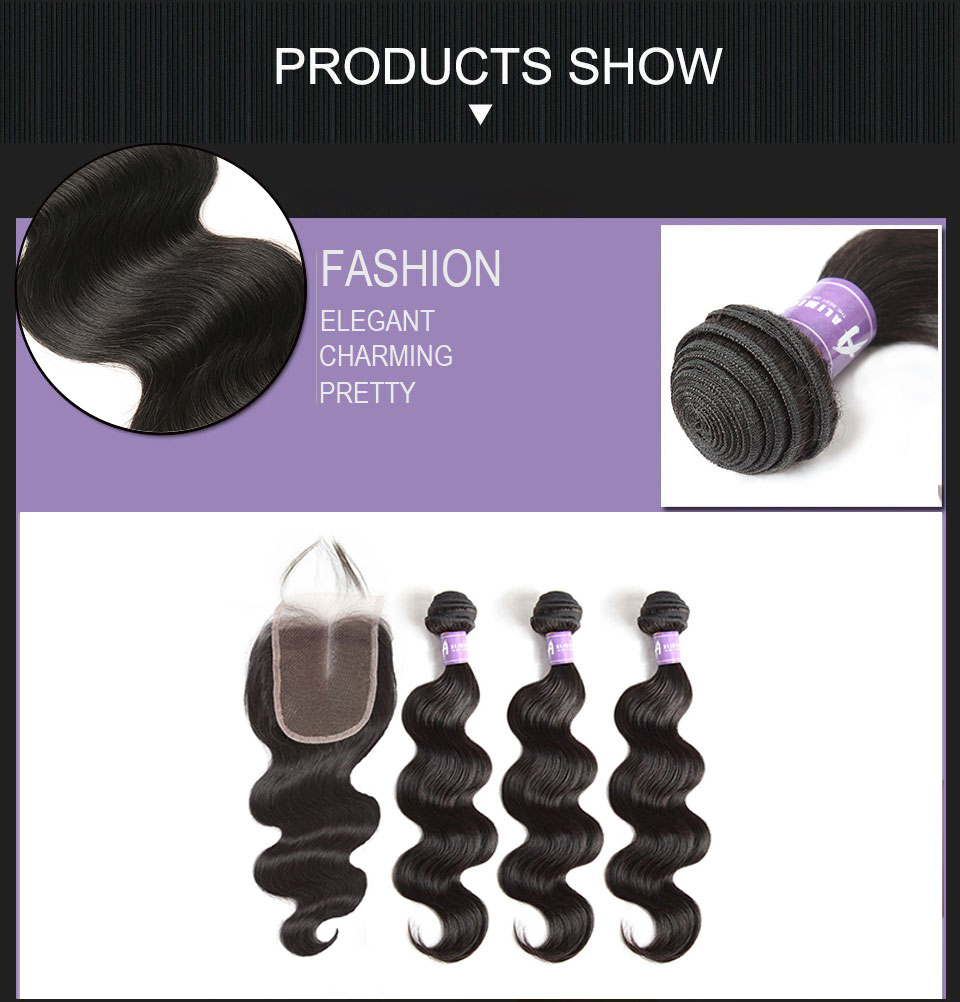 Brazilian Body Wave Hair 3Bundles Human Hair Weave Bundles Hair Weft With Closures With Bundles Alimice Non Remy Hair Extensions (11)