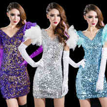 DS costumes fashion show costumes nightclub singer sexy sequined dress ladies modern dance performance clothing(China)