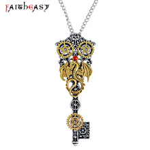 Faitheasy Vintage Steampunk Key Necklace Pendant Women Men Dragon Gear Pendant Retro Jewelry Gift With Box