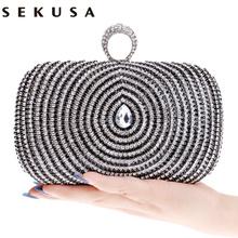 Water Design Accessory Rhinestones Handmade Women Evening Bags Chain Shoulder Handbags Rings Metal Day Clutches Purse