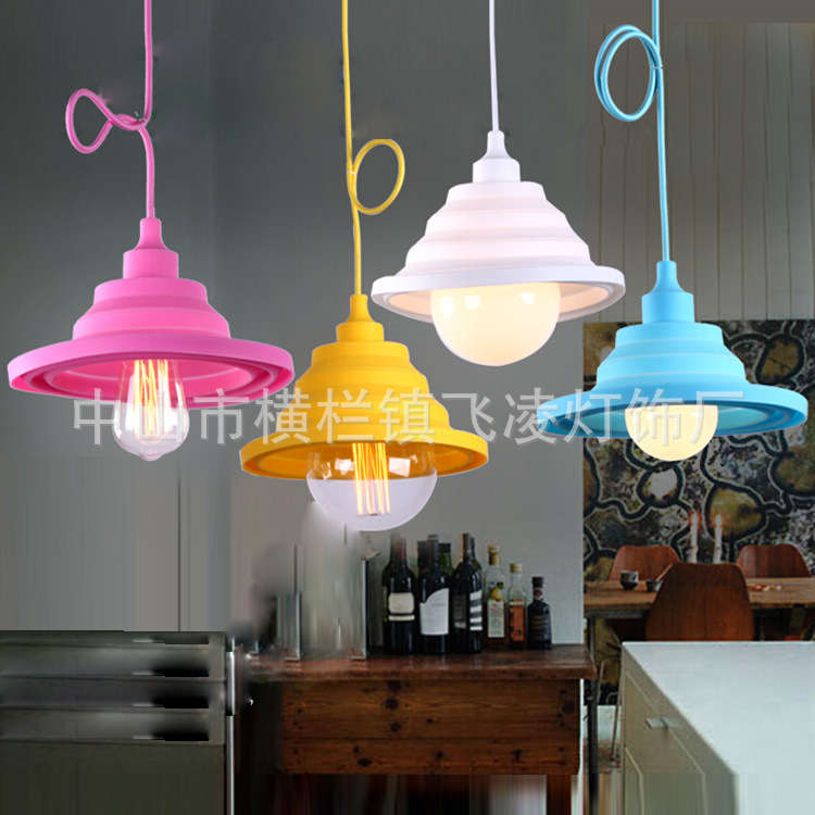 Europe And The United States Diy Creative Can Be Folded Color Silicone Pendant Lights Clothing Store Childrens Room Dining<br>