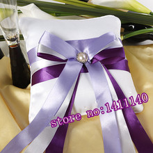free shipping 1pcs Color Purple Violet Wedding Ring Pillow for Wedding Ceremony Party Stuff Accessories(China)