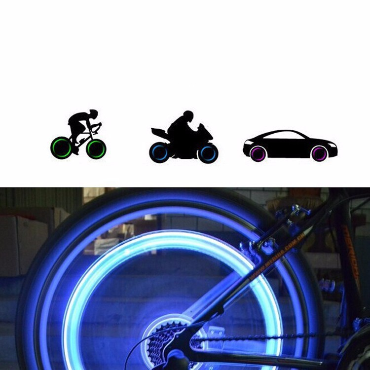 High Quality One Piece Bicycle Cycling Tyre Wheel Valve Neon Firefly Spoke LED Lamp Bikes Lights Wholedeal with Battery