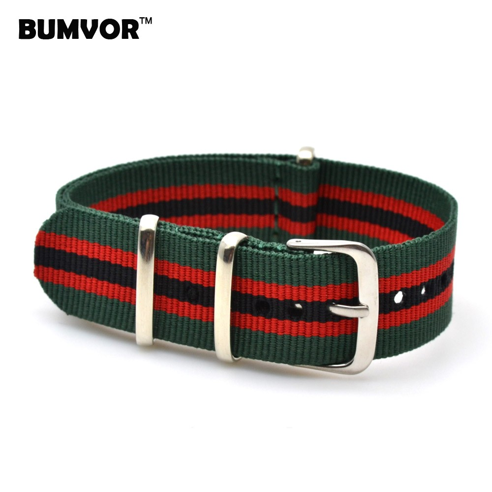 2014 Wholesale 18 mm Army Green Red Military Sports nato fabric Nylon watchband Watch Strap accessories Band Buckle belt 18mm<br><br>Aliexpress