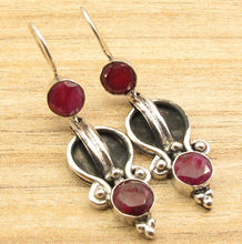 Red rubi 2 Gems FIX WIRE Earrings 7.1 Grams ! Silver Plated Stylish ART Jewelry 5.1 cm