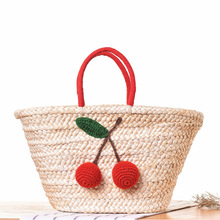 Summer Fashion Women Straw Handbag Beach Bag Cherry Pom Pom Ball Corn Handmade Woven Boho Shopping Basket Tote(China)