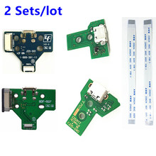 2 Sets For Playstation 4 PS4 Controller Charging Socket Port Circuit Board JDS 001 011 030 040 12 14 pin Power Flex Ribbon Cable
